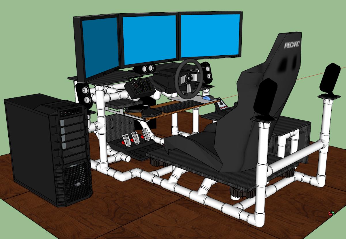 Lid german beer mug hinged lid gaming computer desk ideas - Sim Rig Gaming Desk My Diy Racing Rig Project Gtplanet