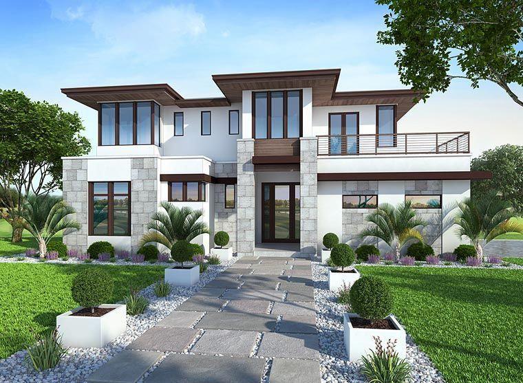 House Plan 75973 Coastal Florida Mediterranean Modern Plan With 5039 Sq Ft 4 Bedrooms 6 Ba Luxury Modern Homes House Designs Exterior Modern House Design