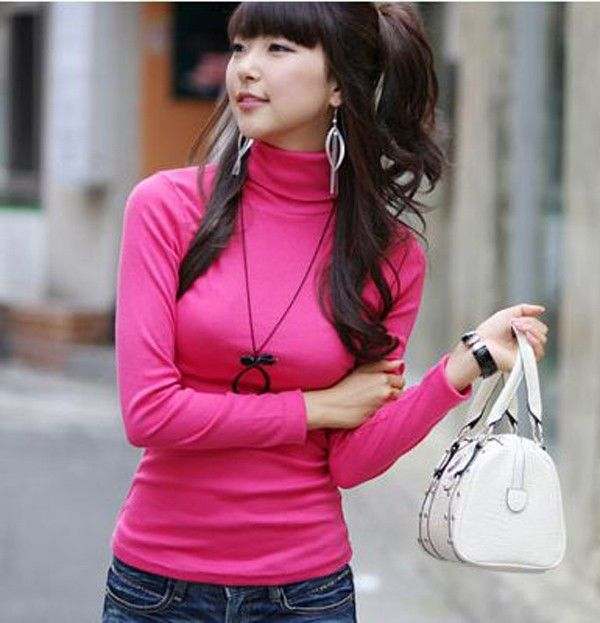 Velvet turtleneck sweater, fashion thin Velvet rose red pullover ...