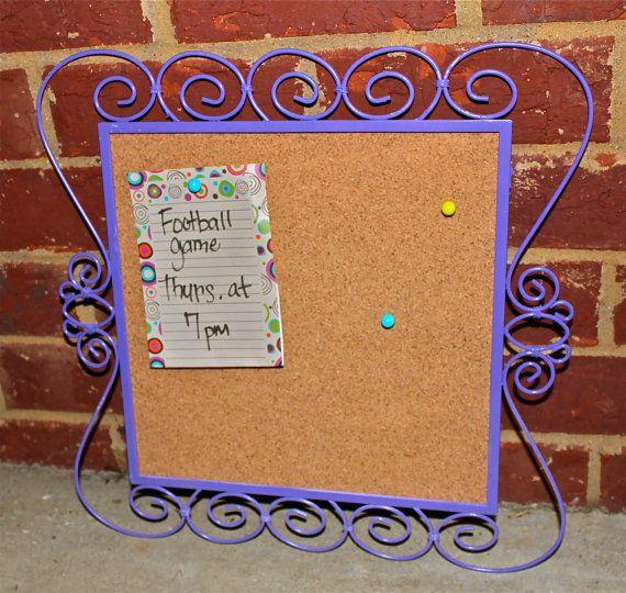 Cork Message Board,  Purple Iron Frame, Bright Decorative Metal ,Small Fun Chic Framed Bulletin Board. $16,50, via Etsy.