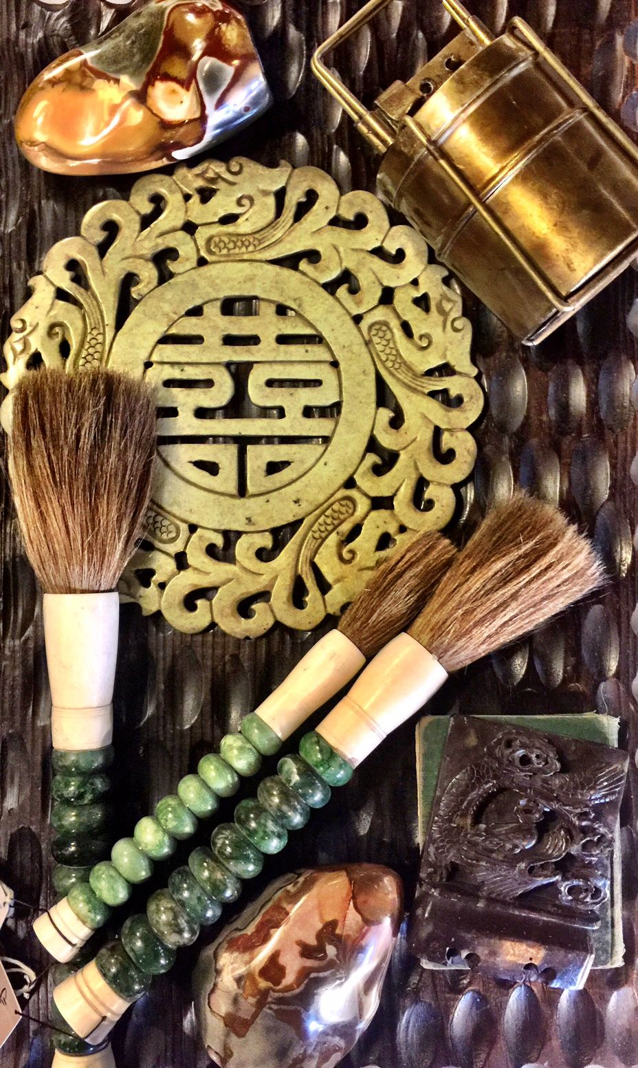 Asian Influenced Jade Inspired Chinese Calligraphy Brushes And