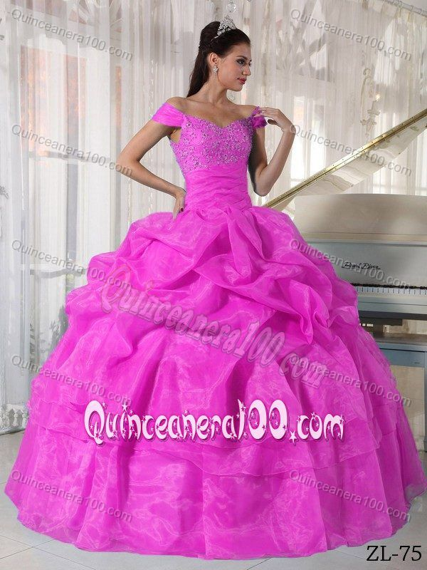 Hot Pink Pick-ups off the Shoulder Beading Quinceanera Party Dress ...