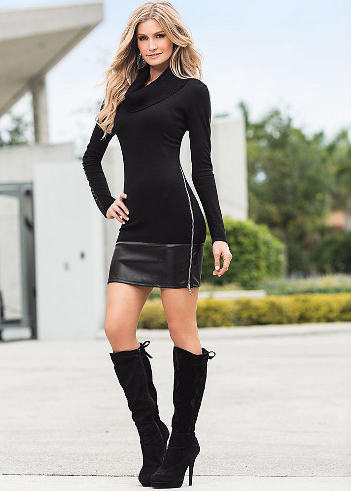 673167b428 BLACK Faux leather sweater dress from VENUS