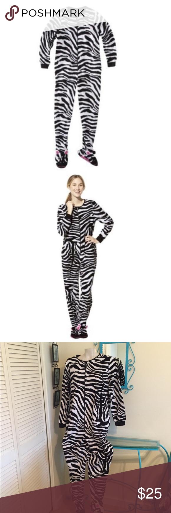 467c1b3cb7b9 Nick   Nora Fleece Zebra Footie PJ Blanket Pajama in 2018