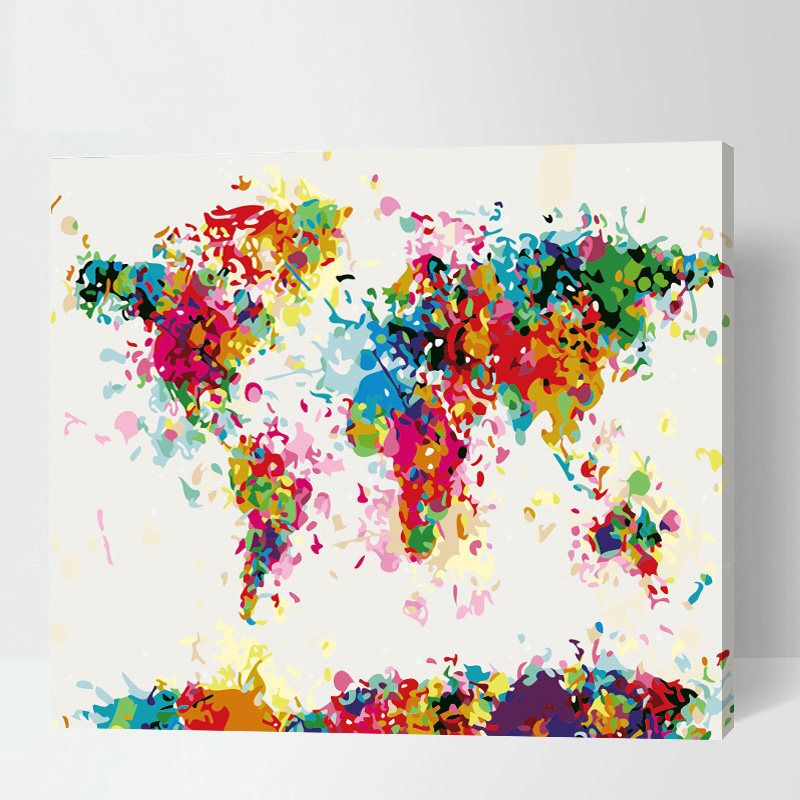 Abstract world map painting paint by number world map colorful abstract world map painting paint by number world map colorful world map gumiabroncs Image collections