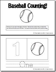 free pre k printable count and coloring books baseball themed from 2 teaching mommies. Black Bedroom Furniture Sets. Home Design Ideas