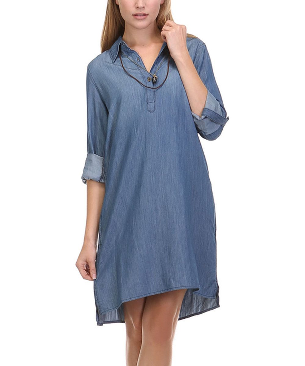Look at this leshop denim buttonfront dress on zulily today