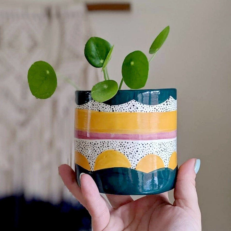 Modern Ceramic Planter Nordic Hand Painted Planter | Etsy