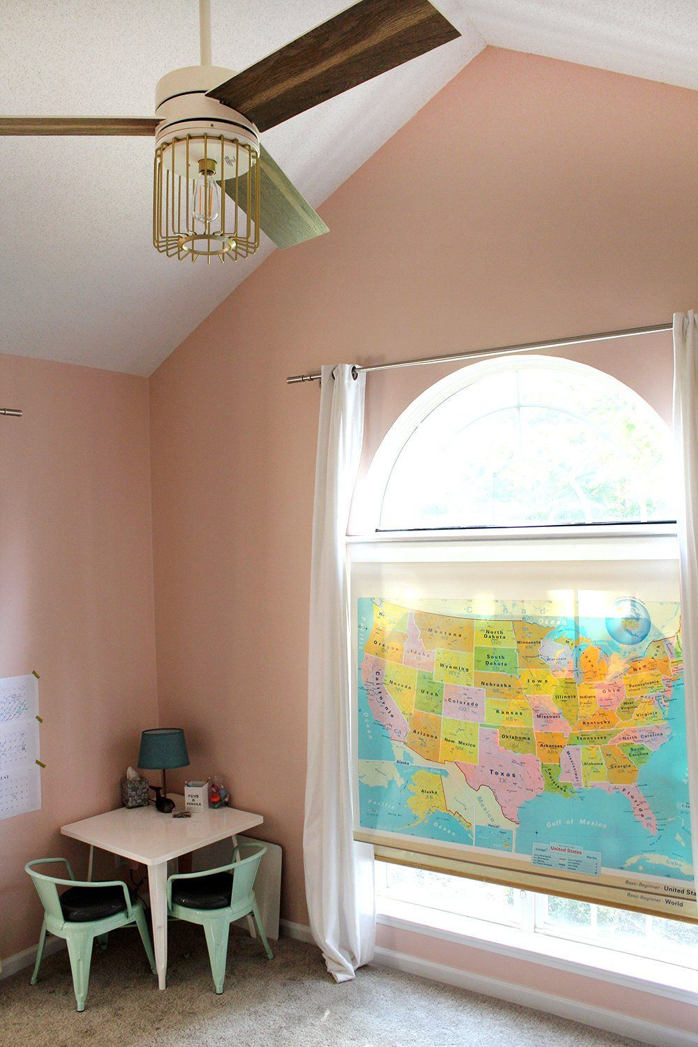 Pop out kitchen window  diy thrifted school map upcyled to a window shade  guest bedroom