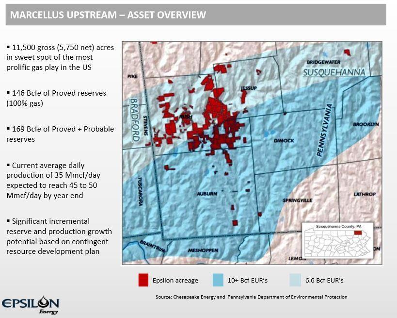 Epsilon Energy Acreage Position in the NE PA Marcellus Shale