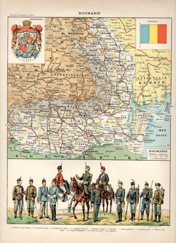 1897 Romania Map Antique Print Vintage Lithograph Illustration