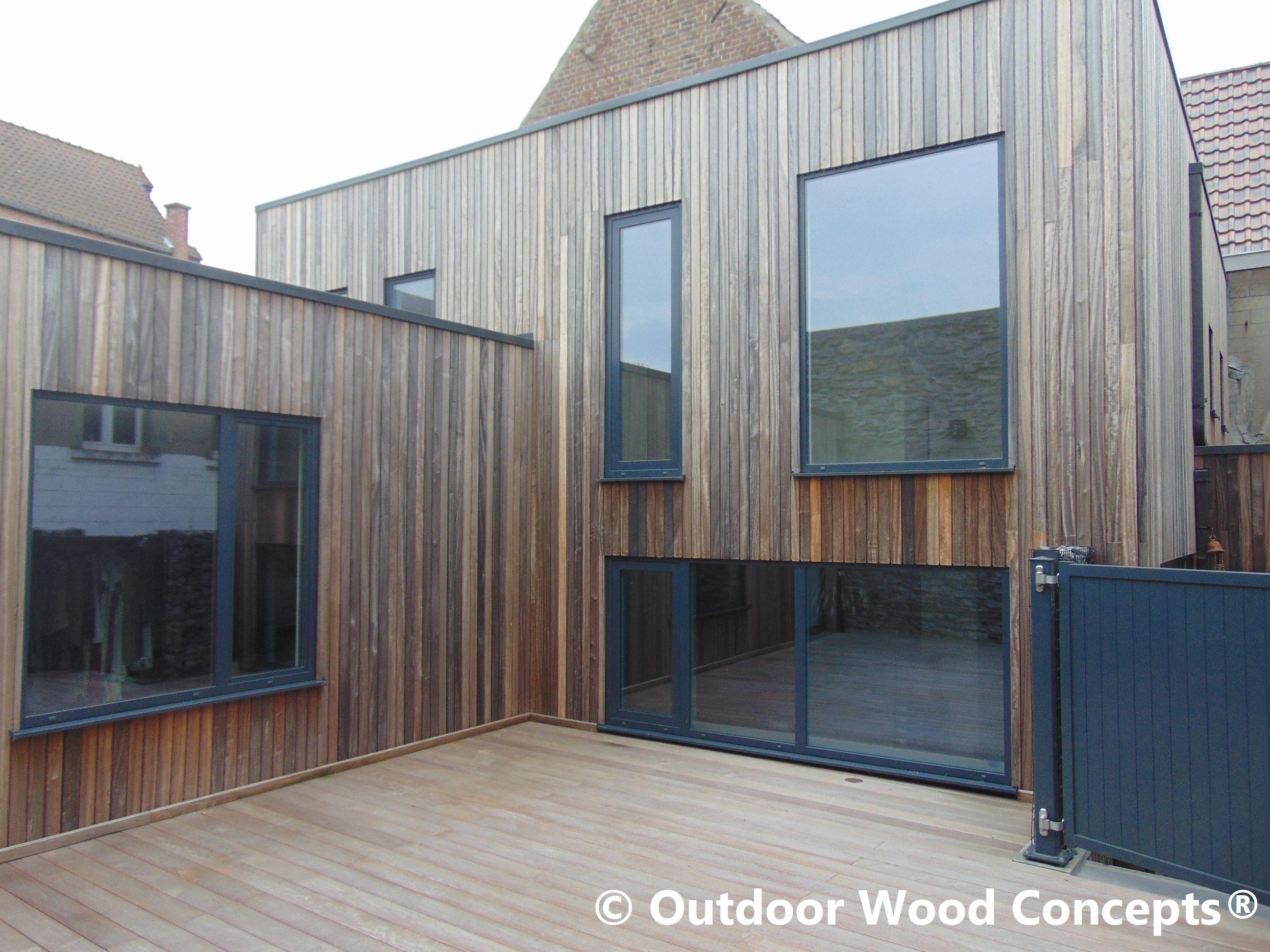 Houten gevelbekleding padoek en terras ipé hout wood bois