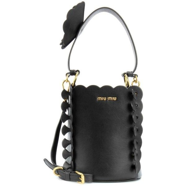 Miu Miu Leather Bucket Bag featuring polyvore, women's fashion ...