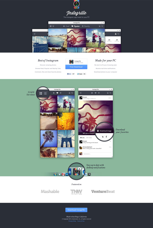 Instagram viewer app landing page by Bryan Sleiter | Visual Design