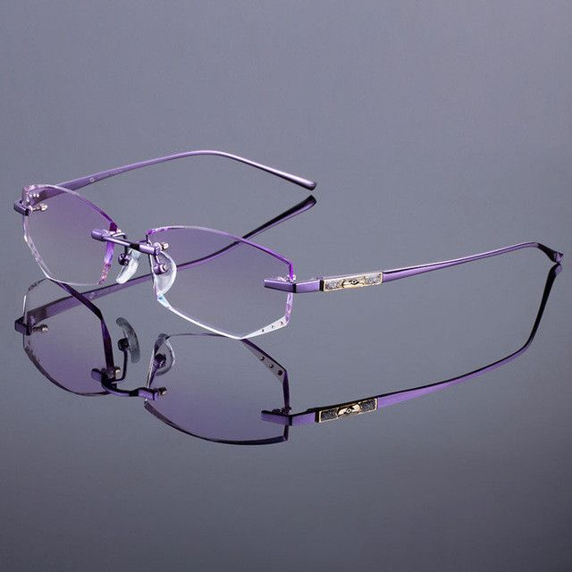 88bc45d4d6 Titanium Alloy Glasses Frame Original Brand Women Rimless Frames Diamond  Trimming Cut Rimless Glasses With Gradient Tint Lenses