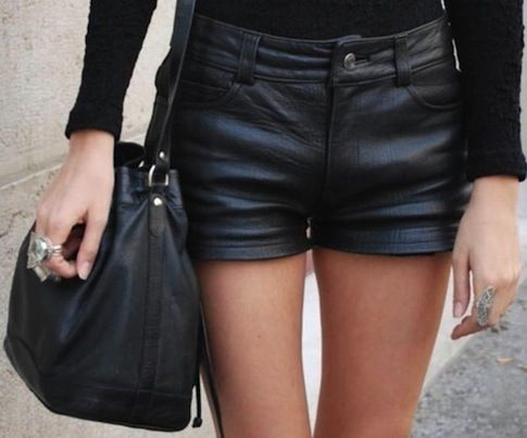 black leather shorts for women