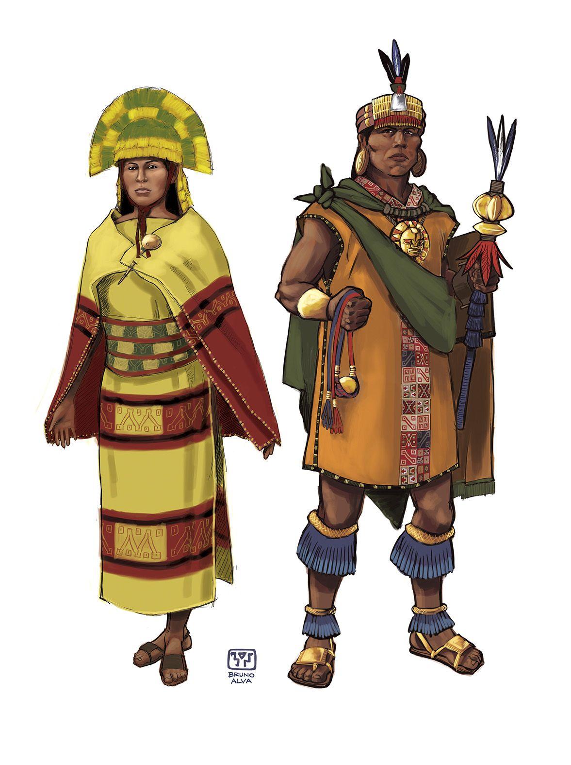 Representación de indumentaria de pareja real del imperio inca, basado en  las descripciones de diversos cronistas | Inca art, Historical illustration,  Peruvian art