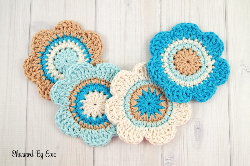Free Cotton Flower Coasters | Charmed By Ewe and other free crochet ...