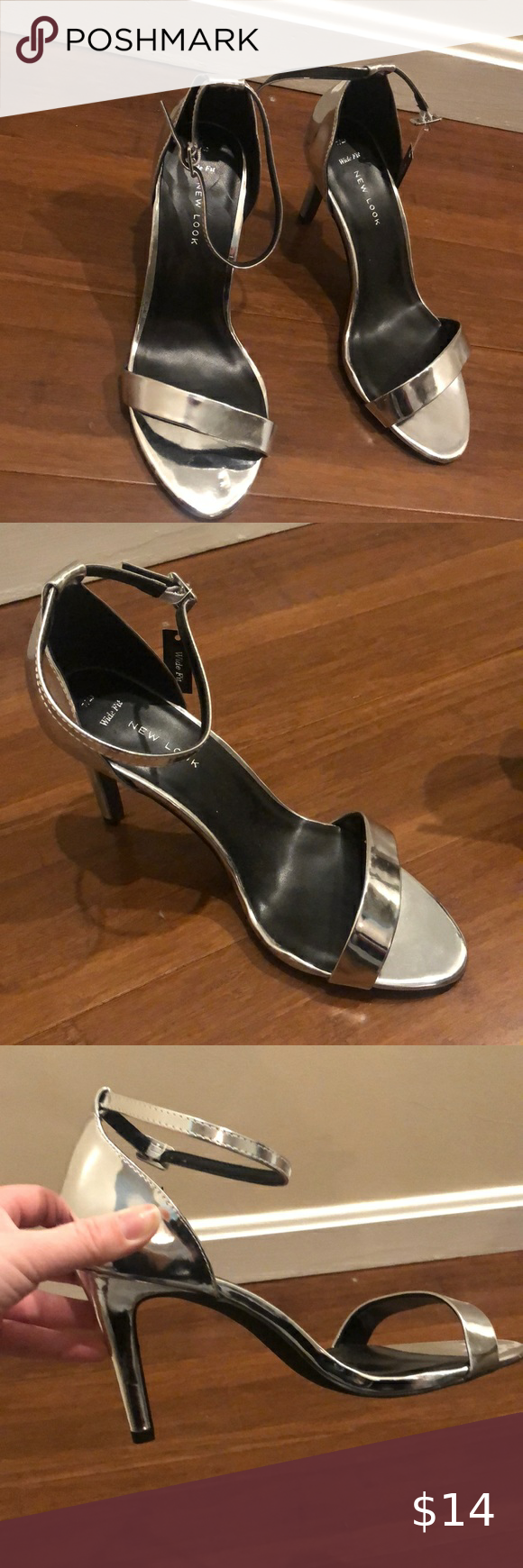 New Look Wide Fit Silver high-heels in