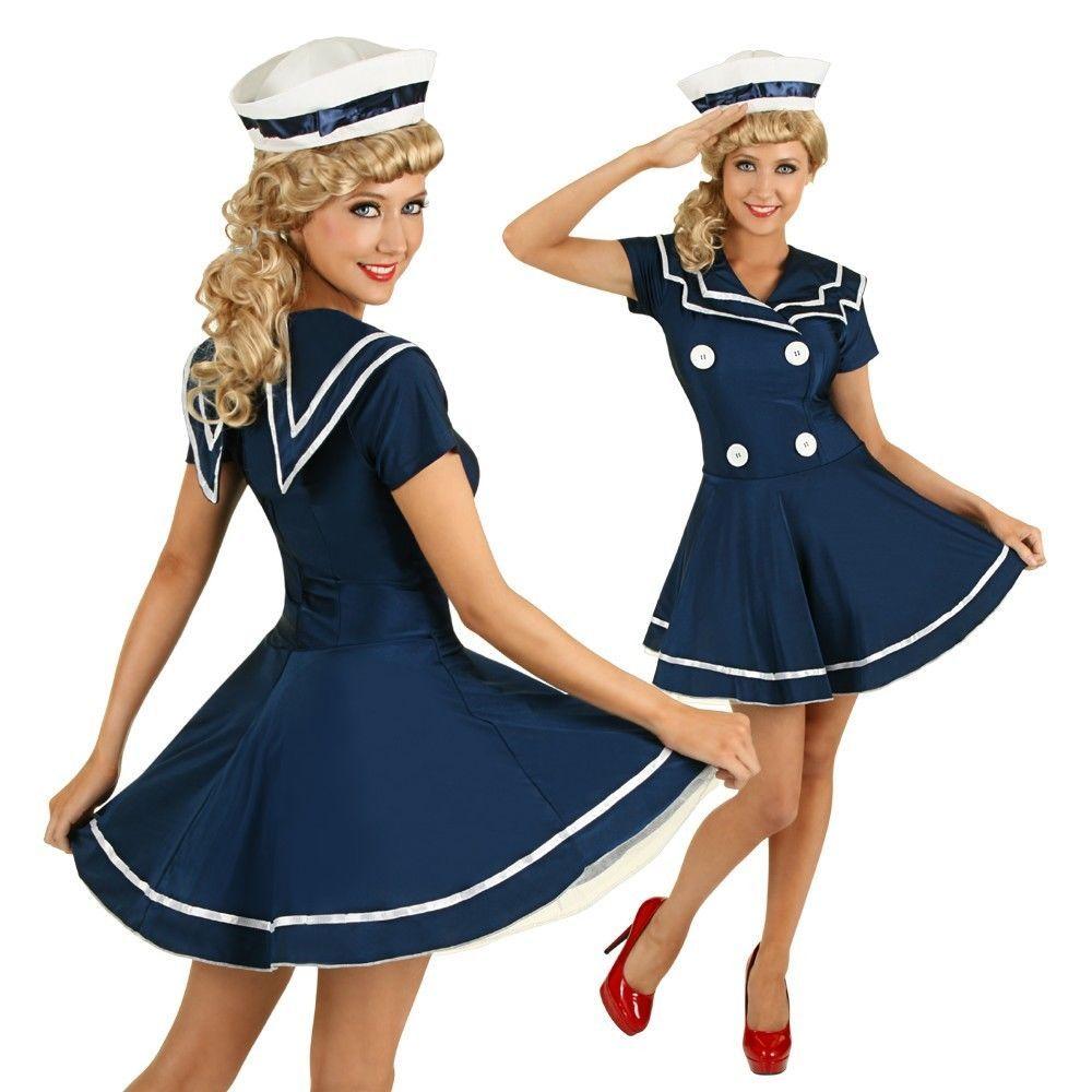 Navy Sailor Girl Costume Uniform Ladies Rockabilly Pin Up Womens Fancy Dress