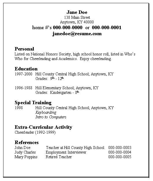 high school student resume example activity college template