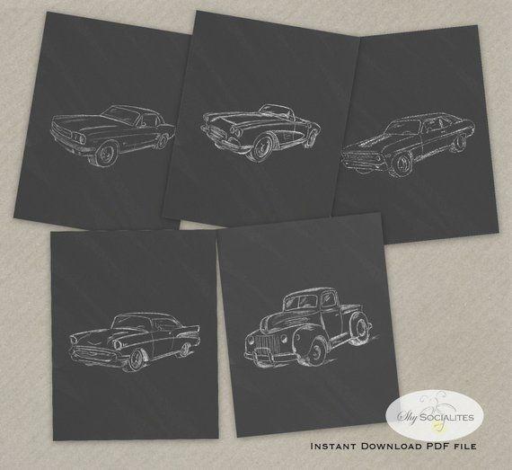 Classic Car Artwork | Chalkboard Sketch Cars | Bar Artwork | Boys Room Decor | A…