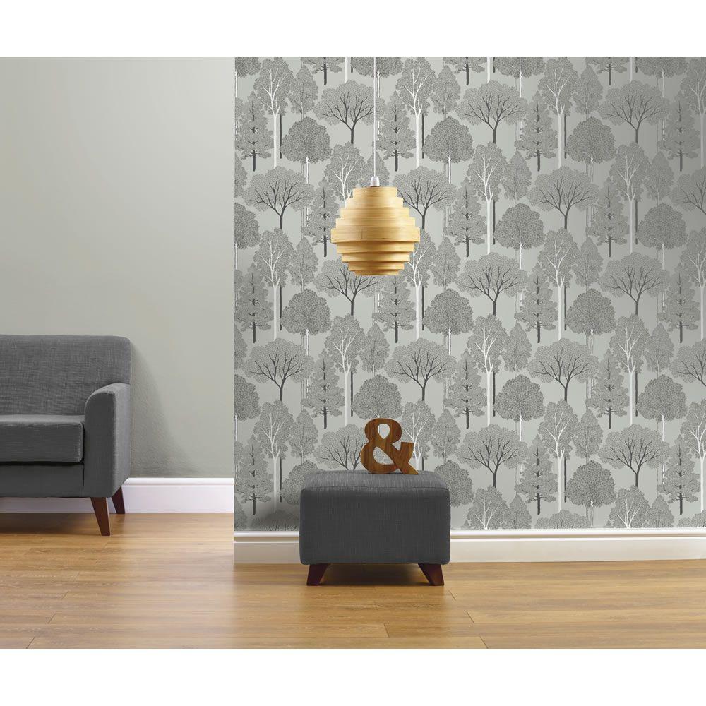 Arthouse Ellwood Silver Wallpaper Green wallpaper