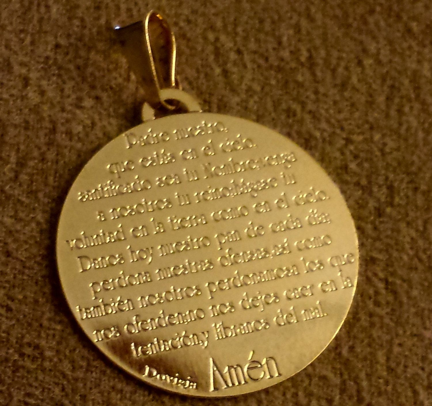 padre nuestro classic engraved pendant lord u0027s prayer small size