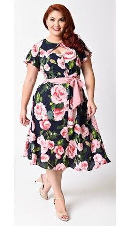 Unique Vintage Plus Size 1940s Navy Pink Rose Short Sleeve