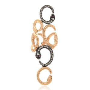 Aida Bergsen 10k Rose Gold and Silver Multi Snake Ring