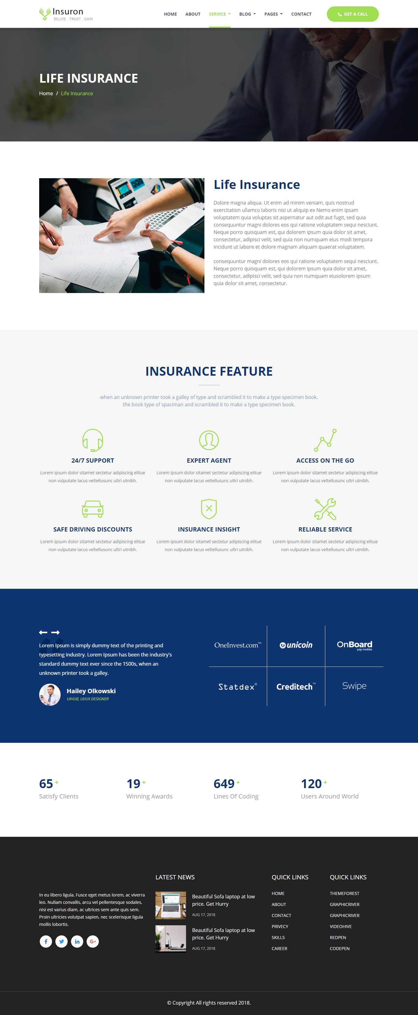Insuron - Insurance Agency HTML5 Template (With images ...