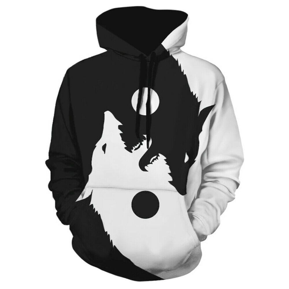 Men Women Hoodie Wolf Sweater Sweatshirt Jacket Coat Pullover Outwear Tops