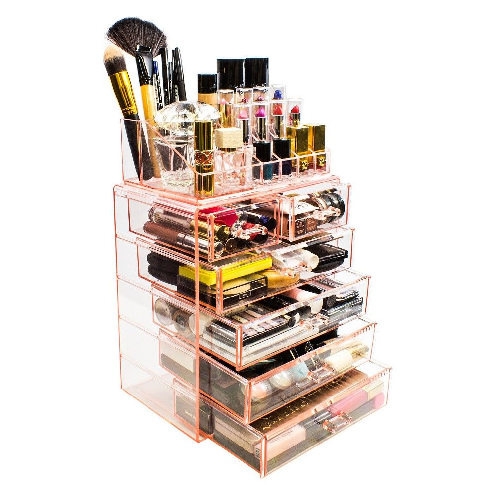 Sorbus Cosmetic Makeup and Jewelry Storage Case Display - Spacious Design (4 Large - 2 Small Drawers - Pink) images