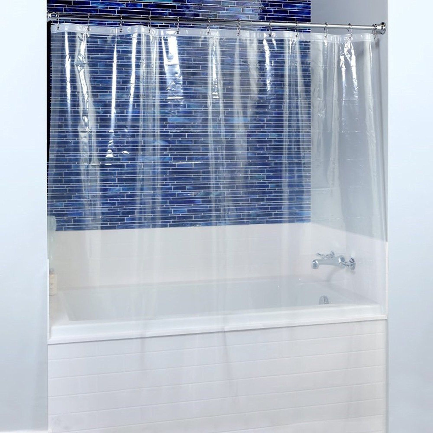 Fancy Fix Shower Curtain Liner Mildew Resistant Peva 8 Gauge Anti Bacterial Heavy Duty 72 X 72 Inches Eco Friendly Odorless Wa Shower Stall Shower Liner Shower