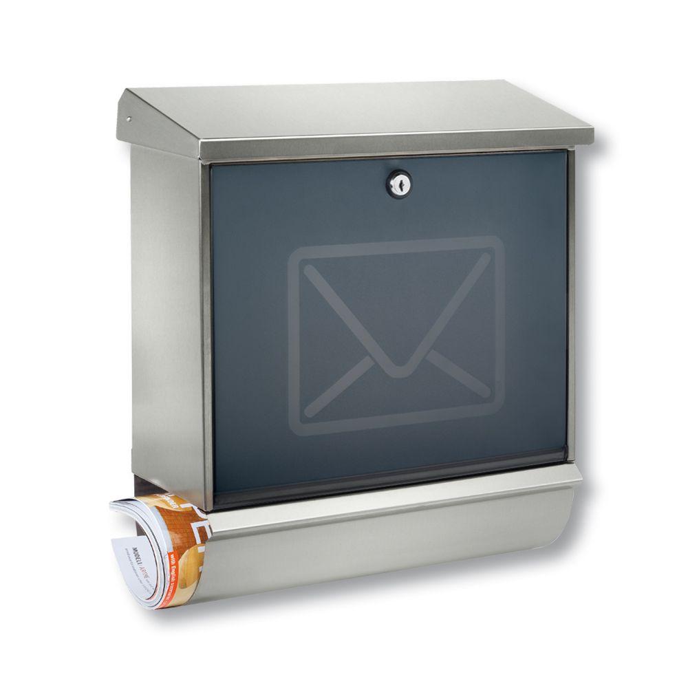 Edelstahl Wandbriefkasten Briefkasten Postkasten Mailbox Letterbox mit Zeitungsrolle Eckig mit Fenster