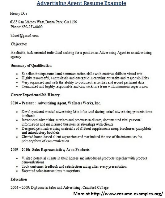 For more and various advertising resumes visit wwwresume - advertising representative sample resume