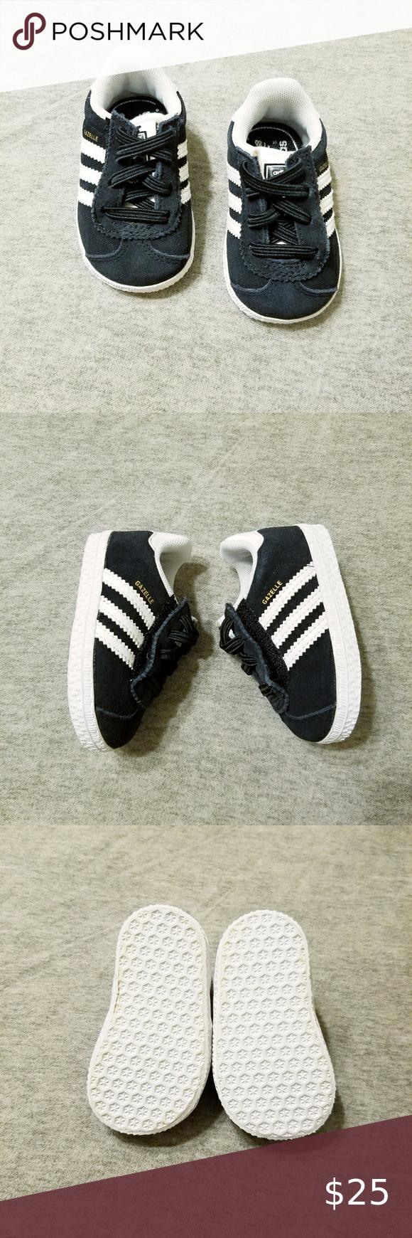 Infant Adidas Gazelle shoes Black infant Adidas Gazelle shoes with ...