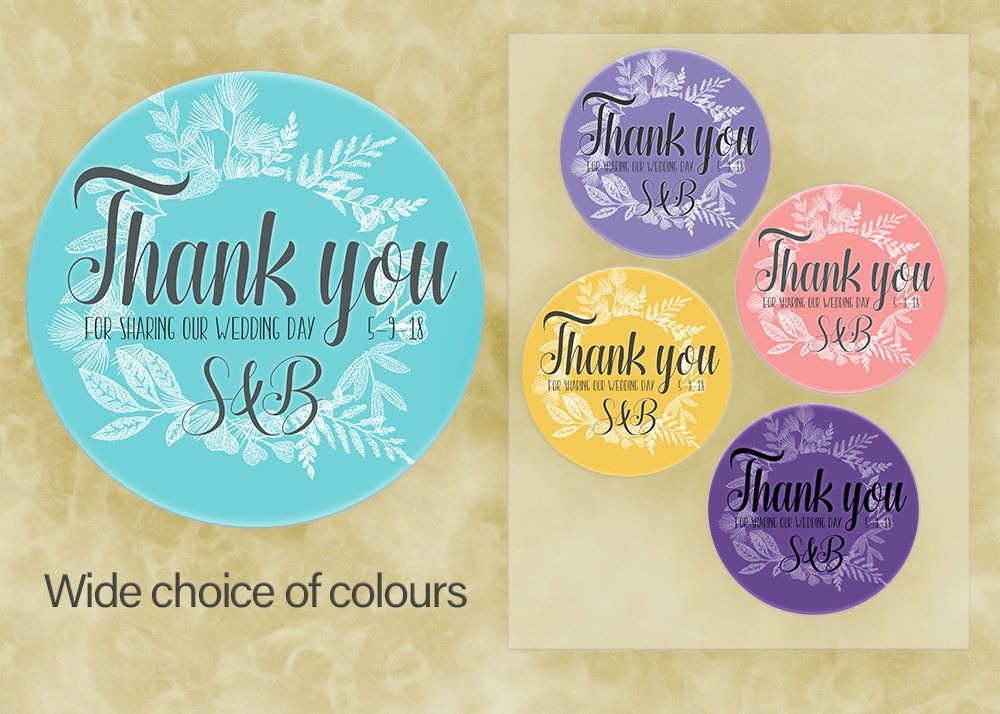 Wedding favour sticker thank you label personalised sticker custom sticker party sticker thank you label bride and groom initials