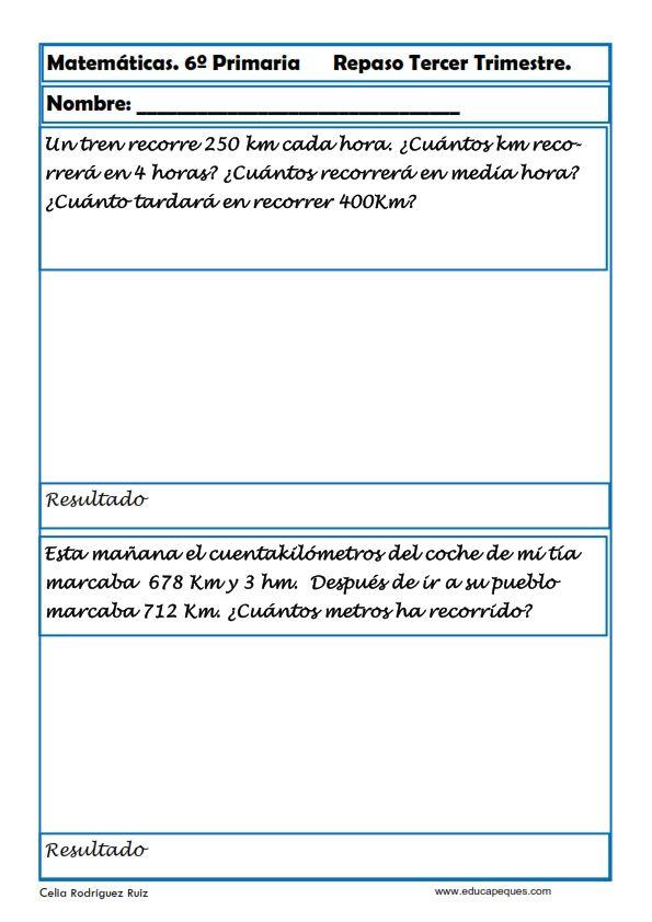 Fichas de ejercicios de Matemáticas para Sexto de Primaria ...