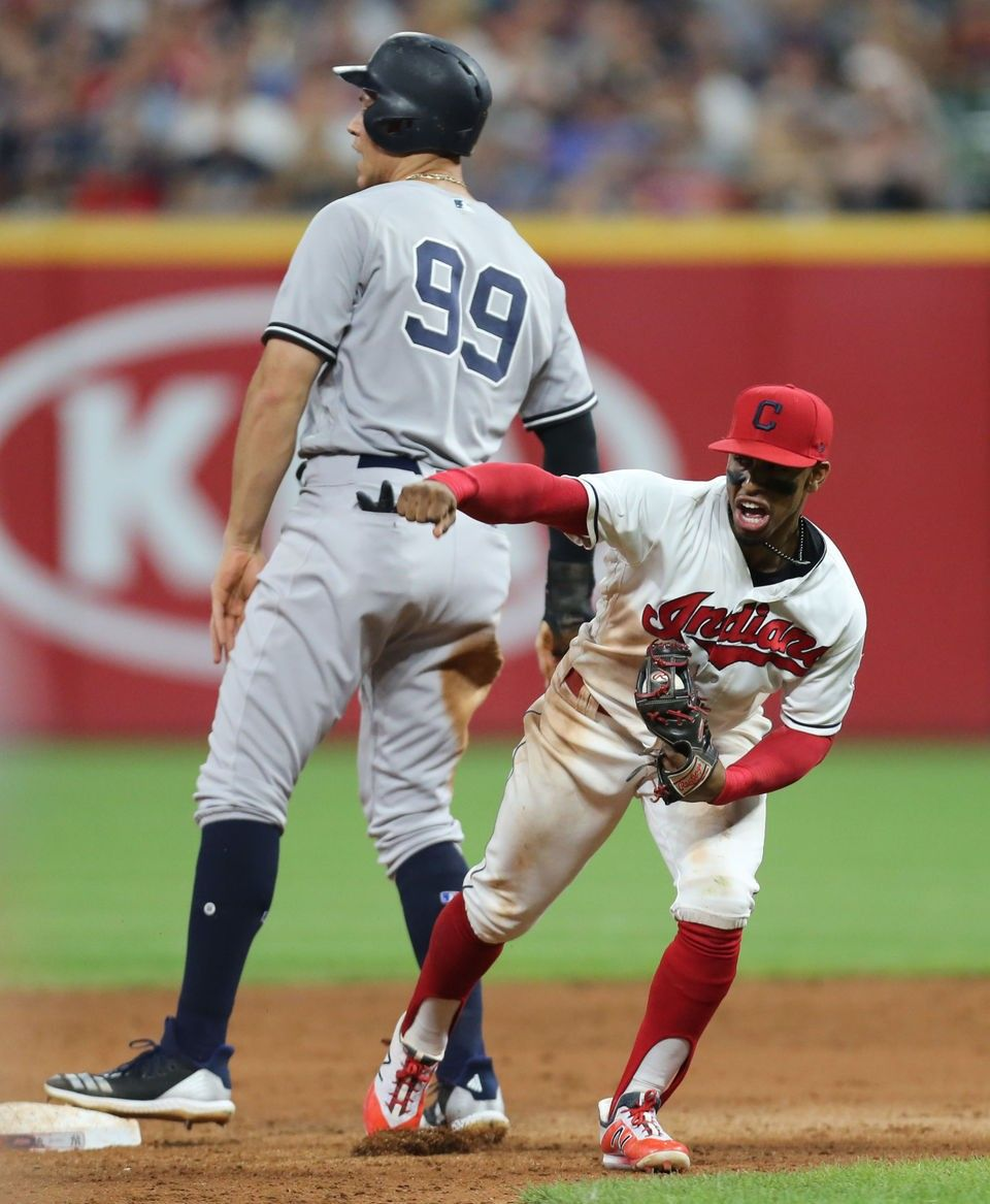 Cleveland Indians Francisco Lindor Reacts To Tagging Out New York Yankees Aaron Judge On A Steal Attempt In The E New York Yankees Cleveland Indians Ny Yankees