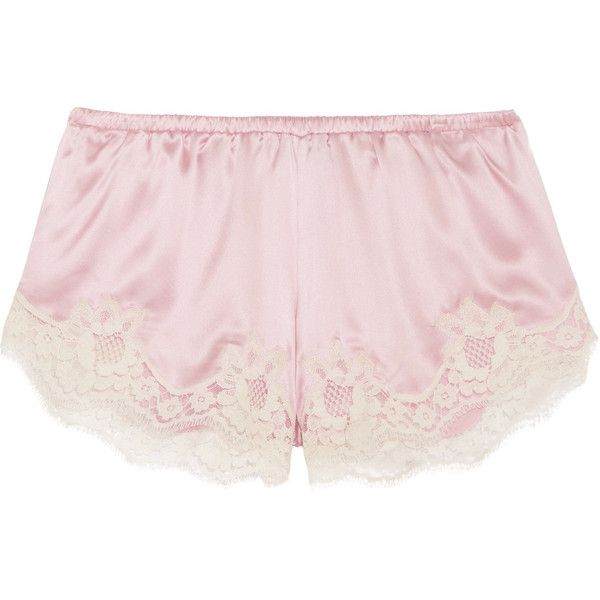 Dolce & Gabbana Lace-trimmed stretch silk-blend satin briefs (€215) ❤ liked on Polyvore featuring intimates and panties