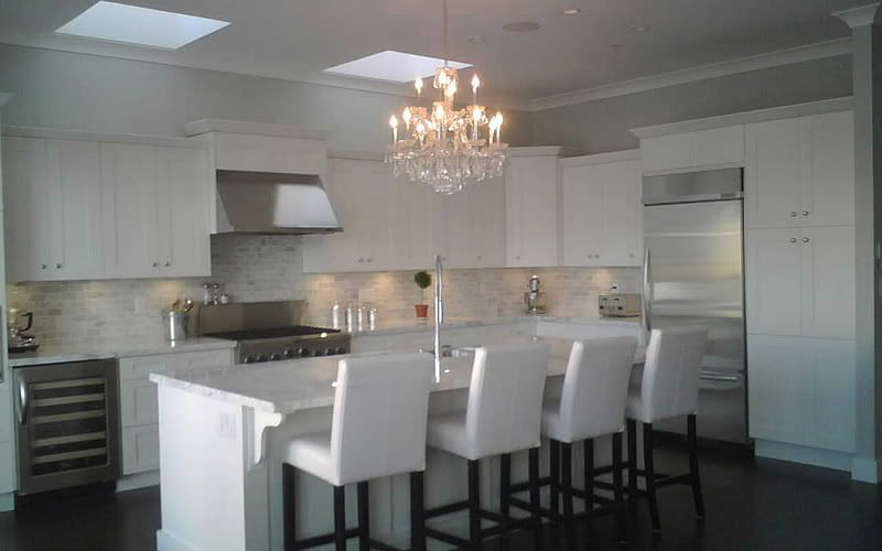 Furnitured Sleek Laminate Floor Paired With Cherry Kitchen Extraordinary Chandelier Kitchen Decorating Design