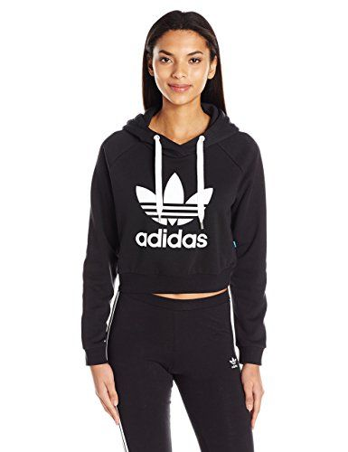aab444d5f554 adidas Originals Women's Originals Crop Hoodie, Black/White, Medium ...