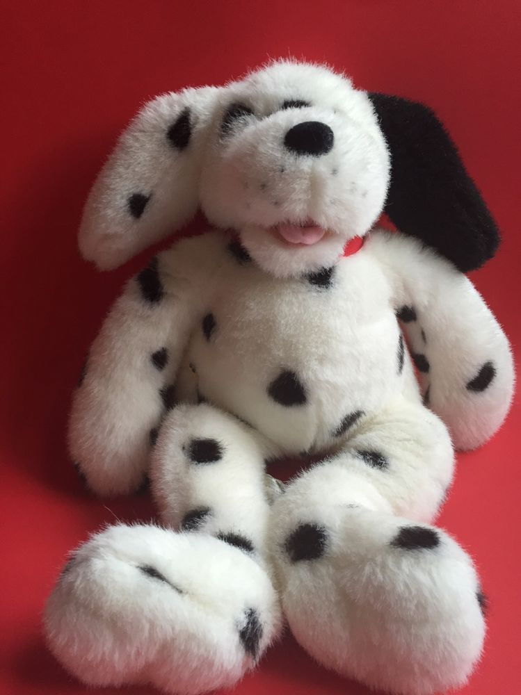Clean Vintage Build A Bear Babw Dalmatian Spotted Dog 17 With Red