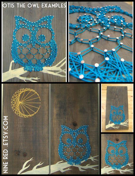 string art pattern otis the owl 9 5 x 7 5 projets essayer pinterest clous tableau. Black Bedroom Furniture Sets. Home Design Ideas