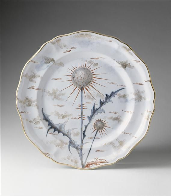 Plate from a floral service by Emile Gallé (1846-1904), made in Nancy, France 1881