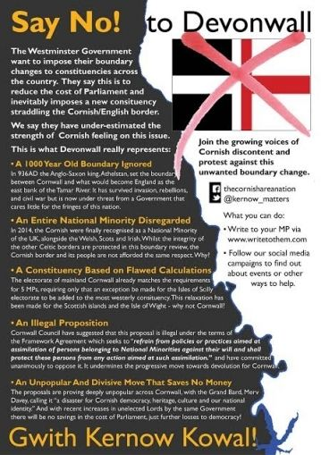 No Devonwall 2016 Cornwall The Uk S Boundary Commission Proposed Creating A New Constituency Straddling The Cornish English Cornish Kernow Celtic Nations