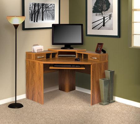 Corner Computer Desk with monitor platform, keyboard shelf, two drawers and cubby hole storage.