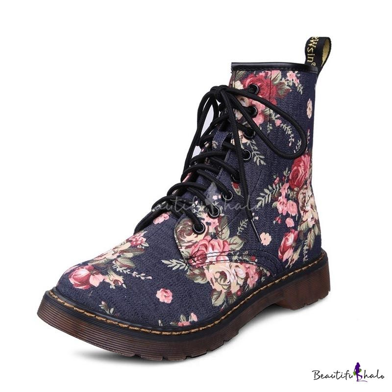 Lace-up Blue Floral Martin Boot in Fabric with Pull Tab