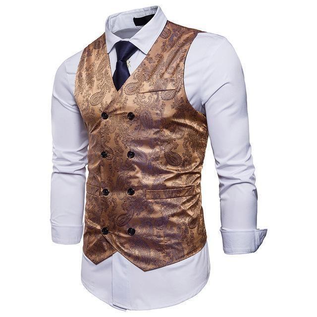 COOFANDY Mens Classic Suit Vest Paisley Floral Tuxedo Dress Waistcoat Vests
